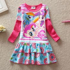 2016 Baby Girls Summer Dress Long Sleeve Children Clothes Cartoon Printed Little Pony Pattern Casual Girl Kids dress #>=#>=#>=#>=#> Click on the pin to check out discount price, color, size, shipping, etc. Save and like it!