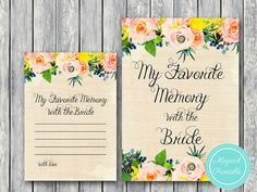 My Favorite Memory with the Bride Memory Lane by MagicalPrintable