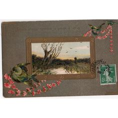 French Romantic Birds & Landscape Pensee a Moi comme Je Pense a Vous Postcard Listing in the Greetings,Postcards,Collectables Category on eBid United Kingdom | 144109626