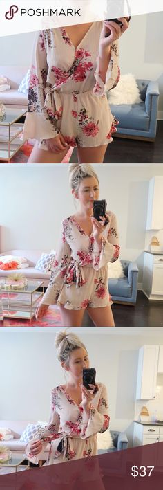 Floral Wrap Romper: ROSE With it's feminine body and bell sleeves, this romper is a winner for summer. Features a wrap tie waist and hidden snap closure. Pair it with wedges!  ▪️Floral print wrap-style romper ft a self-tie bow at waist ▪️Hidden snap closure  ▪️Non-sheer, lightweight ▪️Color is a light beige/blush ▪️Material: 100% Polyester ▪️**All Boutique Items are BRAND NEW/UNWORN**                      •p r i c e  f i r m• •s m o k e  f r e e / p e t  f r e e  h o m e•   •s a m e / n e x…