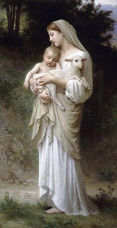 """L'Innocence (""""Inocência"""") de Bouguereau. A criança e o cordeiro representam fragilidade e tranqüilidade,"""