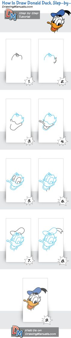 How to Draw Donald Duck, Step-by-Step Drawing Tutorial by olga