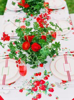 Strawberry Fields Forever tablescape. Love, love love the tablecloth with vintage look.
