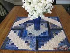Blue Log Cabin Quilted Table Topper