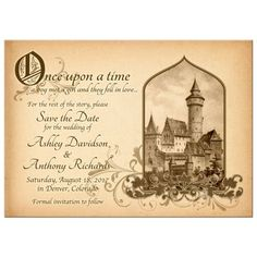 Vintage sepia parchment fairy tale castle once upon a time wedding save the date announcement. Landscape orientation, this design has a vintage castle illustration paired with floral flourishes.   #weddings #fairytale #onceuponatime #savethedate