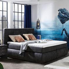 Boxspringbett im Dunkelgrauem Textilstoff Nova, Bed, Furniture, Home Decor, Darkness, Decorating Ideas, Homemade Home Decor, Stream Bed, Home Furnishings