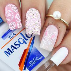 61 Easy and Simple Easter Nail Art Designs Dot Nail Designs, Easter Nail Designs, Kathy Nails, Pastel Nail Art, Bunny Nails, Cute Pink Nails, Easter Nails, Crystal Nails, Halloween Nail Art