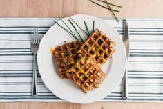 Whether breakfast, lunch, or dinner, these waffles are there for you! Savory cheddar and chives waffles.