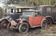 A Morris Minor is part of the decaying 30-car collection