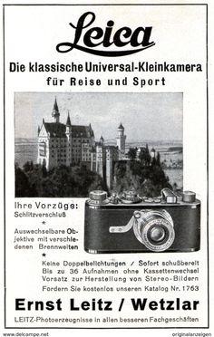 Original-Werbung/ Anzeige 1931 - LEICA KAMERA / MOTIV SCHLOSS NEUSCHWANSTEIN /  LEITZ - WETZLAR - Ca. 65 X 110 Mm - Werbung