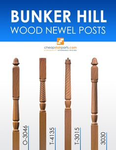 Bunker Hill style wood newel posts. These are made to order at an Amish woodmill and take 2-3 weeks for production and delivery. You will not find a higher quality newel post online.   See all of our Bunker Hill wooden newel posts: https://cheapstairparts.com/products/wood-newel-posts/bunker-hill/  #StairRemodel #InteriorDesign #Stairs #Stairparts #Staircase #StairRemodel #WoodNewel