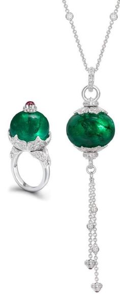 Using two Zambian Emerald beads from Gemfields, Theo Fennell creates an 18k white gold ring and a necklace.  | LBV ♥✤