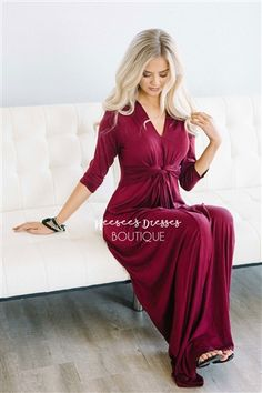 Burgundy Twist Front Maxi Modest Dress | Best and Affordable Modest Boutique | Cute Modest Dresses and Skirts for Church