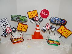 Hot Wheels centerpiece.Hot Wheels Party Decorations by VannessasCreations on Etsy