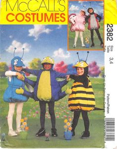 MCCALLS 2382 - FROM 1999 - UNCUT - CHILDRENS BUG COSTUMES