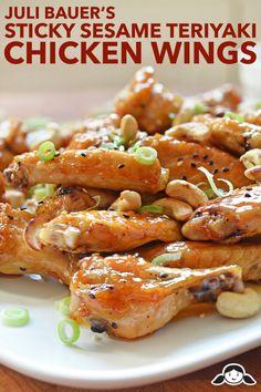 Juli Bauer's Sticky Seseame Teriyaki Chicken Wings by Michelle Tam http://nomnompaleo.com