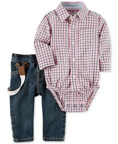 Carter's 3-Pc. Plaid Shirt-Bodysuit, Suspenders & Jeans Set, Baby Boys (0-24 months) - Sets & Outfits - Kids & Baby - Macy's