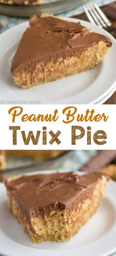Pie Recipes 82604 Peanut Butter Twix Pie is an easy no bake pie recipe that tastes like a Twix! A shortbread crust is filled with peanut butter pie filling and topped with chocolate cream! This easy pie recipe is EASY to make and everyone loves it. Peanut Butter Twix, Peanut Butter Filling, Peanut Butter Recipes, Peanut Pie Recipe, Twix Recipe, Mini Desserts, No Bake Desserts, Easy Desserts, Delicious Desserts
