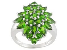 Sterling 4.88ctw Russian Chrome Diopside Cluster Ring Erv $178.00