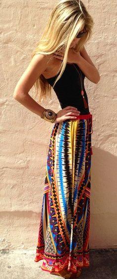 Multicolor Floral Print Floor Length Cotton Blend Skirt - Skirts - Bottoms