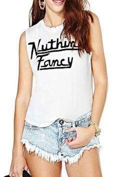 abaday Letters Print Round Neck Slim White Vest - Fashion Clothing, Latest Street Fashion At Abaday.com