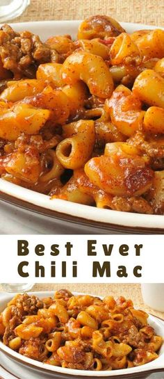Best Chili Mac Recipe weve ever made. This is an easy dinner recipe you will love and your family will thank you for it. Easy weeknight dinners like chili mac are always a winner. Chili Mac Recipe, Chili Recipes, Pasta Recipes, Cooking Recipes, Cake Recipes, Beefy Mac Recipe, Steak Recipes, Crockpot Recipes, Yummy Recipes