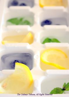 Summer Ice Cubes - place lime, mint, blueberries or anything else in for some wonderful summer drinks.