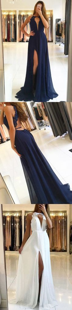 Navy Blue Prom Dresses, Long Prom Dresses Lace, 2018 Prom Dresses For Teens, Modest Prom Dresses A-line, Scoop Neck Chiffon Prom Dresses For Cheap #navy #formaldresses