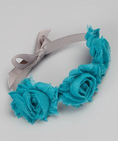 Take a look at this Teal Flower Bun Wrap by Lil Miss Sweet Pea on #zulily today!