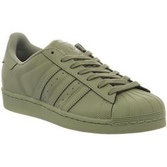 Adidas Superstar 1 Pharrell Supercolor Shift Olive His trainers (335 BRL) ❤ liked on Polyvore featuring shoes, sneakers, adidas, army green shoes, adidas footwear, adidas shoes and olive green shoes