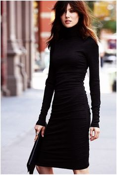 A must have for Fall - the turtleneck dress with tall boots