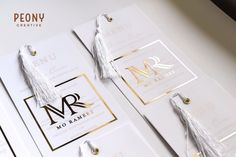 """Peony Creative on Instagram: """"The most gorgeous gold and white menu's for @mo_rameez. White vellum, gold foiled covers attached to metallic gold foiled cardstock…"""" Metallic Gold, Gold Foil, Peony, Card Stock, Place Cards, Place Card Holders, Cover, Creative, Instagram"""