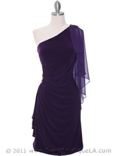 Purple One Shoulder Cocktail Dresses, Holiday Party Dress, Short Formal Dress from Sung Boutique Los Angeles $92