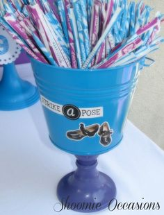 Fun treats at a dance party!  See more party ideas at CatchMyParty.com!  #partyideas #dance