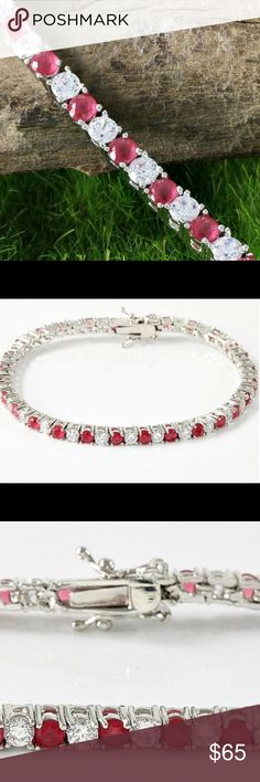 "NEW 18K WG 4.25 RUBY AND WHITE SAPPHIRE BRACELET NEW STUNNING GENUINE RUBY AND WHITE SAPPHIRE TENNIS BRACELET!  4.25 TCW 18K WHITE GOLD FILLED!  BEAUTIFUL BRACELET! IT WEIGHS APPROX 9 GRAMS AND IS 7"" IN LENGTH WITH SECURE CLASP FOR WORRY FREE WEAR includes black velvet gift box Jewelry Bracelets"