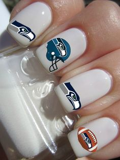 Seattle Seahawks Nail Decals via Etsy