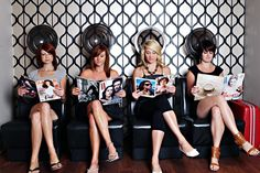 hair salon // This would be really cute picture to take of bridesmaids gettting ready for a wedding!
