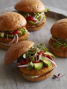 Sweet Potato Burgers by What's Gaby Cooking. Sweet Potato Burgers, made with a mixture of sweet potatoes and white beans, make a delicious vegetarian dinner! Especially when topped with avocado!
