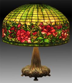 Beautiful Antique Stained Glass Lamp