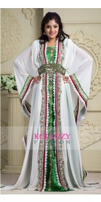 Fancy White & Gold Dress Kaftan with embroidered veil