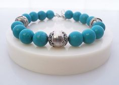 Men's Turquoise and Sterling silver Bracelet by KartiniStudio