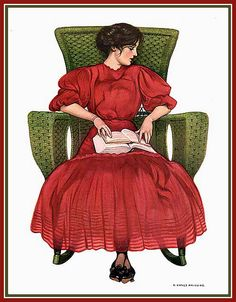 Coles Phillips - Rocking and Reading (1908)