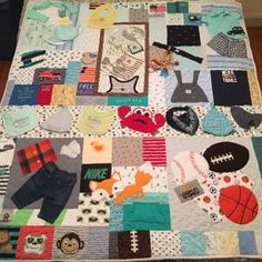 I Spy Game Quilt Matching Picture Game Quilt Unisex Reuse Old Clothes, Old Baby Clothes, Baby Clothes Patterns, Baby Memory Quilt, Baby Quilts, Memory Quilts, Harley Davidson T Shirt, Baby Clothes Blanket, Quilts From Baby Clothes
