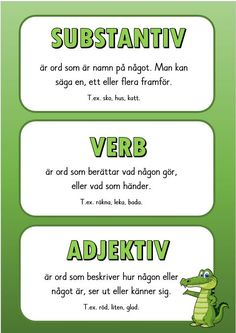 Substantiv, verb och adjektiv Noun, verb and adjective Learn Swedish, Swedish Language, Teacher Education, Writing Words, Preschool Activities, Good To Know, Elementary Schools, Teaching, Barn