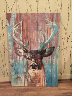 Pallet Painting, Pallet Art, Painting On Wood, Deer Art, Cool Art Projects, Canadian Art, Autumn Art, Wildlife Art, Animal Paintings