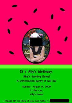 Watermelon Birthday Party invite...girl's birthday party
