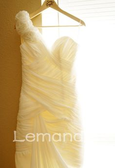 couture one shoulder mermaid folds chiffon wedding dress