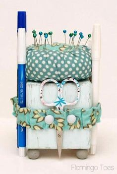 Cute Little Sewing Tool Caddy -Flamingo Toes