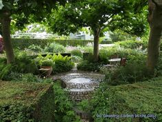 circular patio hidden beneath the trees I so could do this in the back by the cart path !!