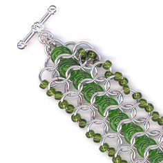 Green and Silver Chainmaille Cuff Bracelet with Beads by Lehane, $45.00